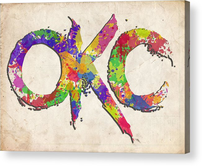 Okc Acrylic Print featuring the photograph Okc Typography Watercolor by Ricky Barnard