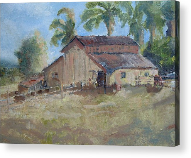 Old Barns; Horse Stables Landscape In Plein-air Acrylic Print featuring the painting Old Yeller by Bryan Alexander