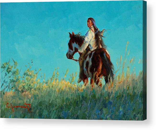 Indian Acrylic Print featuring the painting Over The Horizon by Jim Clements