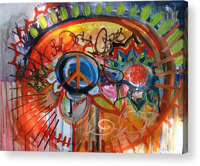 Peace Acrylic Print featuring the painting Peace Flower by Lili Lovemonster
