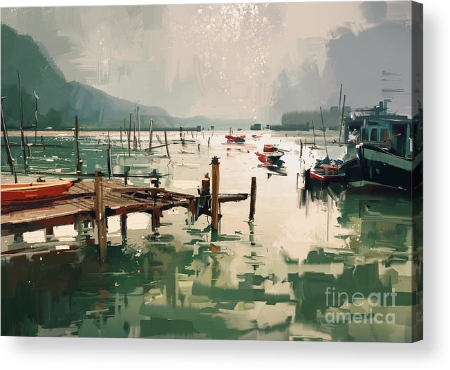 Art Acrylic Print featuring the painting Pier by Tithi Luadthong