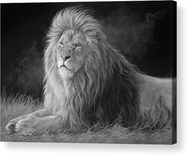 Lion Acrylic Print featuring the painting Pleasant Breeze - Black And White by Lucie Bilodeau
