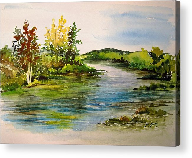 Grand Beach Manitoba Lagoon Acrylic Print featuring the painting Plein Air At Grand Beach Lagoon by Joanne Smoley