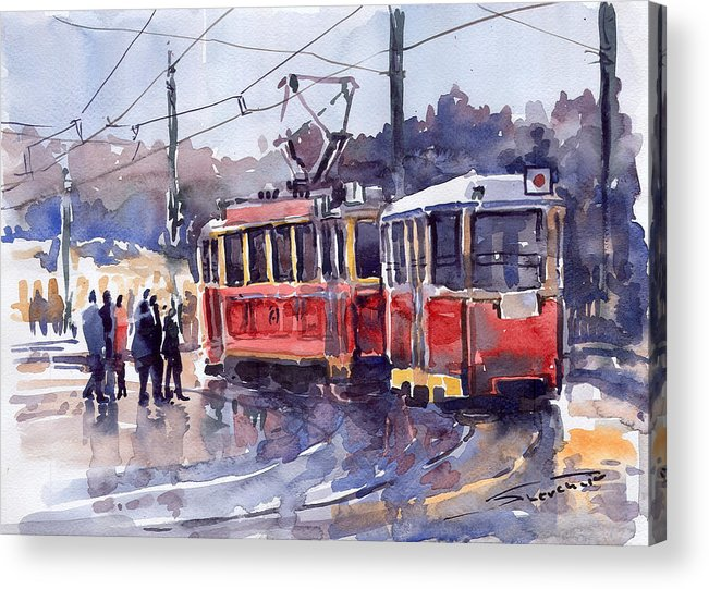 Cityscape Acrylic Print featuring the painting Prague Old Tram 01 by Yuriy Shevchuk