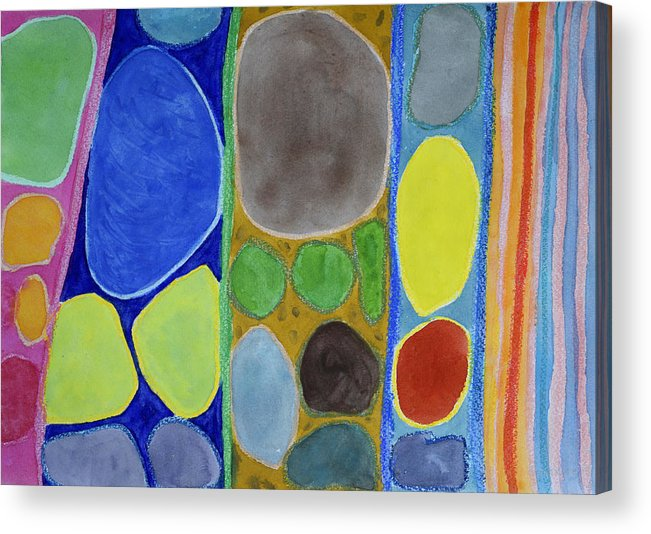 Abstract Acrylic Print featuring the painting Precious Things In Colourful Stripes by Heidi Capitaine