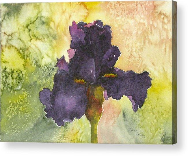 Iris Acrylic Print featuring the painting Purple Iris by Jerry Kelley