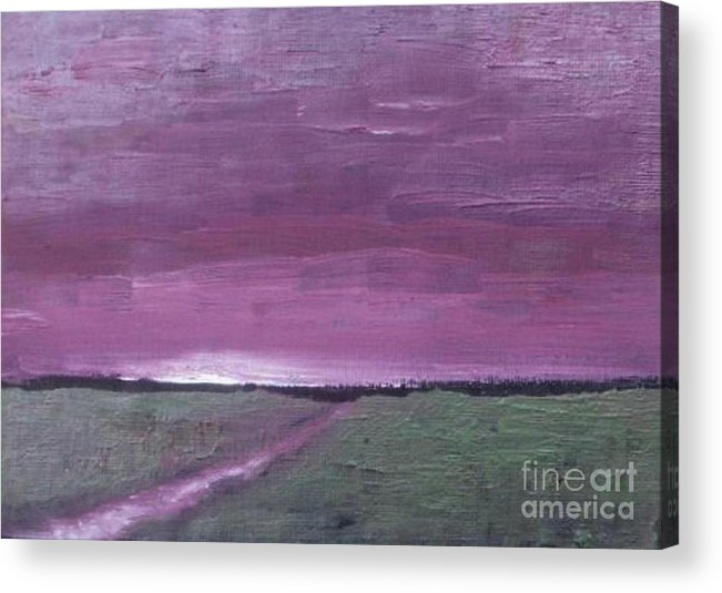 Landscape Acrylic Print featuring the painting Purple Sunset by Vesna Antic