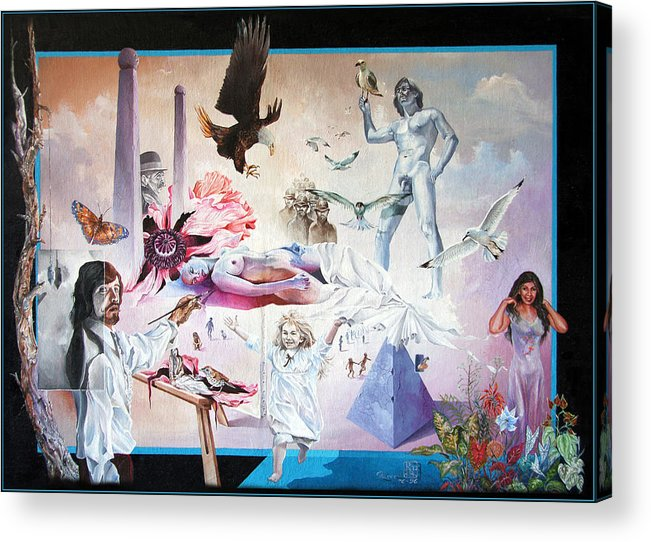 Surrealism Acrylic Print featuring the painting Quiet Afternoon At The Studio by Otto Rapp