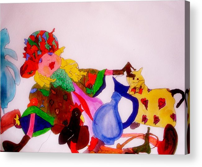 Ragdoll Acrylic Print featuring the mixed media Ragdoll And Friends by Lessandra Grimley