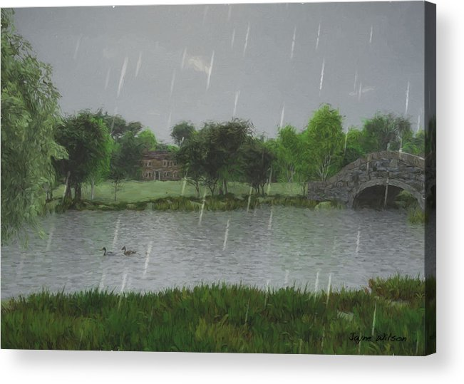 Rainy Day At The Lake Acrylic Print featuring the digital art Rainy Day At The Lake by Jayne Wilson
