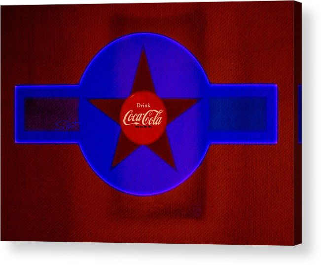 Label Acrylic Print featuring the painting Red And Blue by Charles Stuart