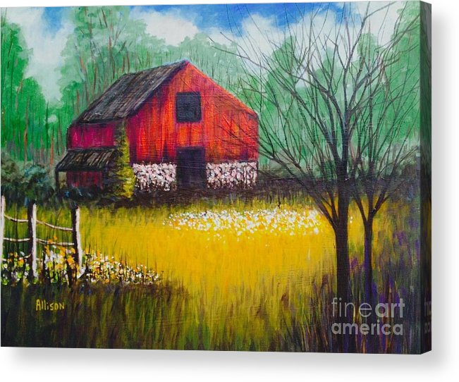 #barns #country #landscapes #red #trees #fences Acrylic Print featuring the painting Red Barn by Allison Constantino