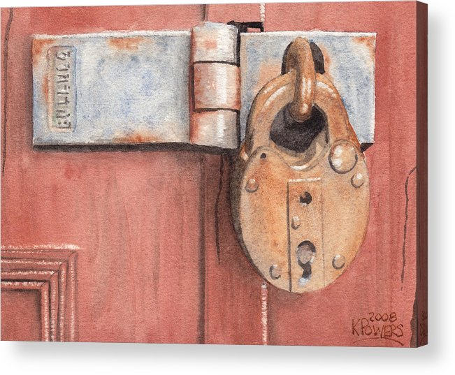 Lock Acrylic Print featuring the painting Red Door And Old Lock by Ken Powers