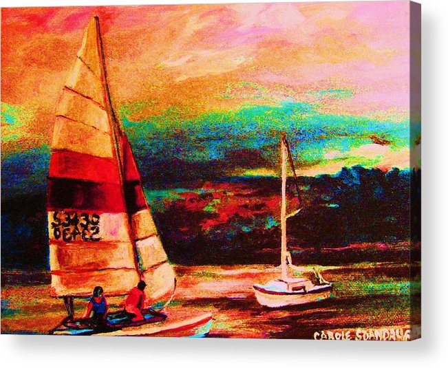Sailing Acrylic Print featuring the painting Red Sails In The Sunset by Carole Spandau