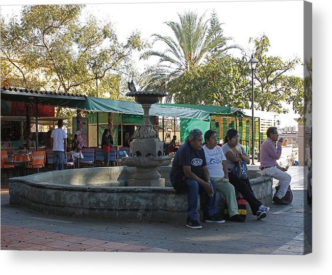 Courtyard Acrylic Print featuring the photograph Relaxing In The Basilica De La Soledad Courtyard by James Connor