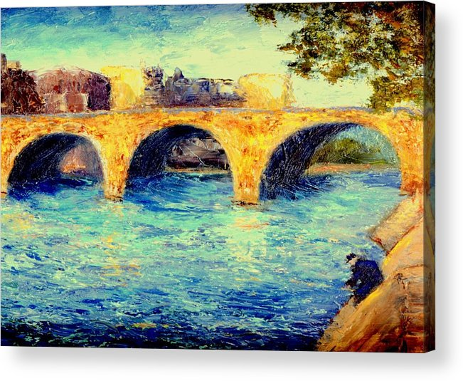 Impressionism Acrylic Print featuring the painting River Seine Bridge by Gail Kirtz