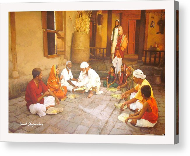 Saibaba Acrylic Print featuring the painting Saibaba Serves Food To Village People by Sunil Shegaonkar
