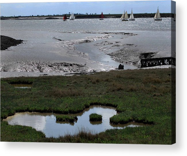 Sailing Acrylic Print featuring the photograph Sailing At Low Tide by Terence Davis