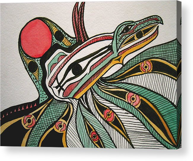 Orignial Artwork Acrylic Print featuring the painting Salishan Style Raven by K Hoover