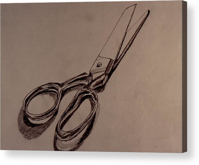 Acrylic Print featuring the drawing Scissors by Chris Riley