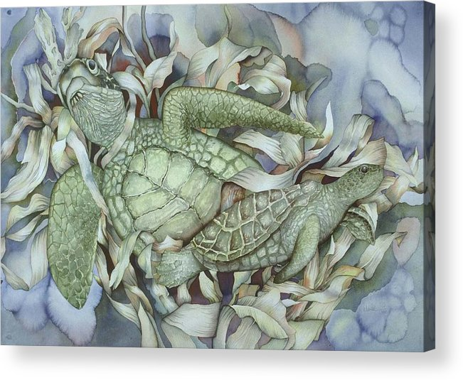 Sea Acrylic Print featuring the painting Sea Turtles Mum And Babe by Liduine Bekman