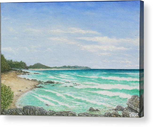 Seascape Acrylic Print featuring the painting Second Bay Coolum Beach by Joe Michelli