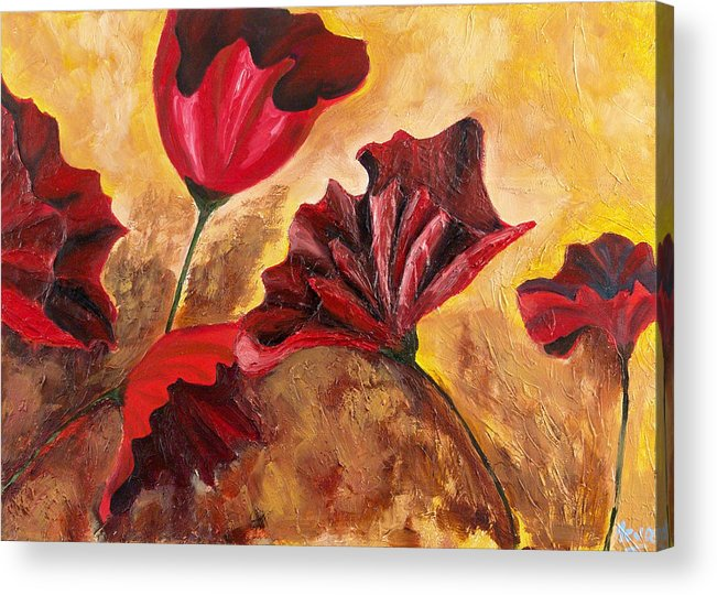 Flowers Acrylic Print featuring the painting Second Passion by Helene Lagoudakis