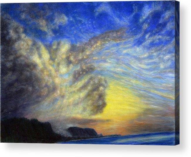 Coastal Decor Acrylic Print featuring the painting Secret Beach Sunset by Kenneth Grzesik