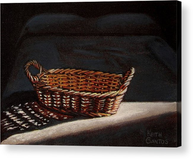 Basket Acrylic Print featuring the drawing She Is Sleeping by Keith Gantos
