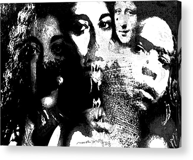 Human Composition Acrylic Print featuring the mixed media Silent Dance by Noredin Morgan