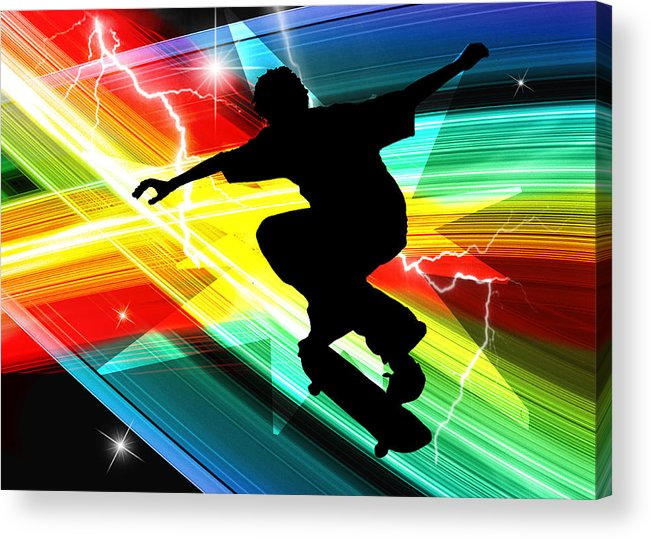 Skateboard Skate+boarding Sports Athletic Stunts Acrylic Print featuring the painting Skateboarder In Criss Cross Lightning by Elaine Plesser
