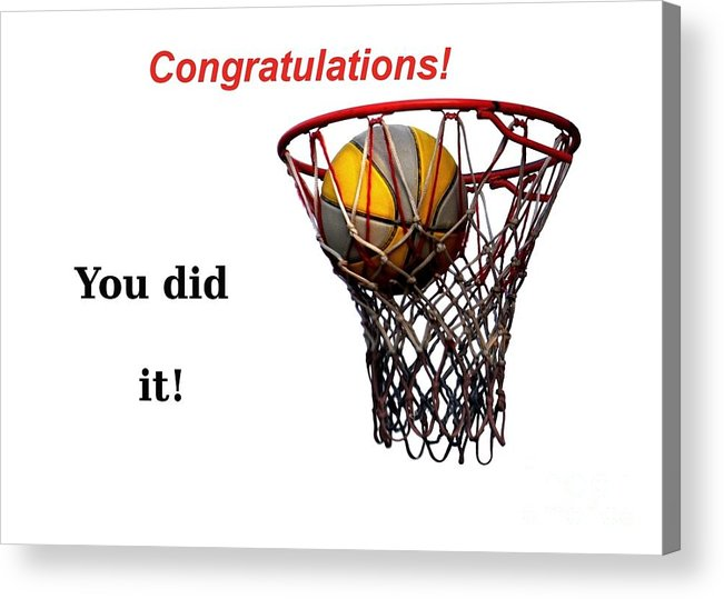 Basketball Acrylic Print featuring the photograph Slam Dunk Congratulations Greeting Card by Yali Shi