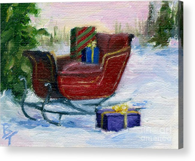 Sleigh Acrylic Print featuring the painting Sleigh Aceo by Brenda Thour