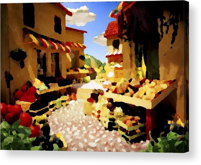 Market.town.street.road.houses.shadow.things For Sale.heat.rest.silence. Acrylic Print featuring the digital art small urban market on Capri island by Dr Loifer Vladimir