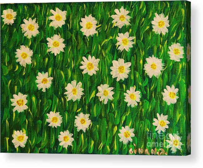 Margaret's Flowers Acrylic Print featuring the painting Smiling Margaret's Flowers by Gina Nicolae Johnson