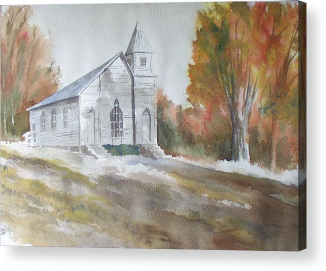 Smyth Chapel Acrylic Print featuring the painting Smyth Chapel, Emory, Virginia by Jim Stovall