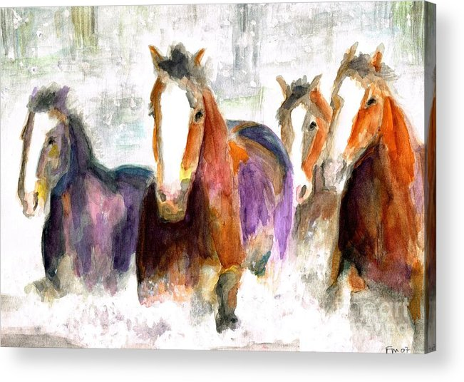 Horses Acrylic Print featuring the painting Snow Horses by Frances Marino