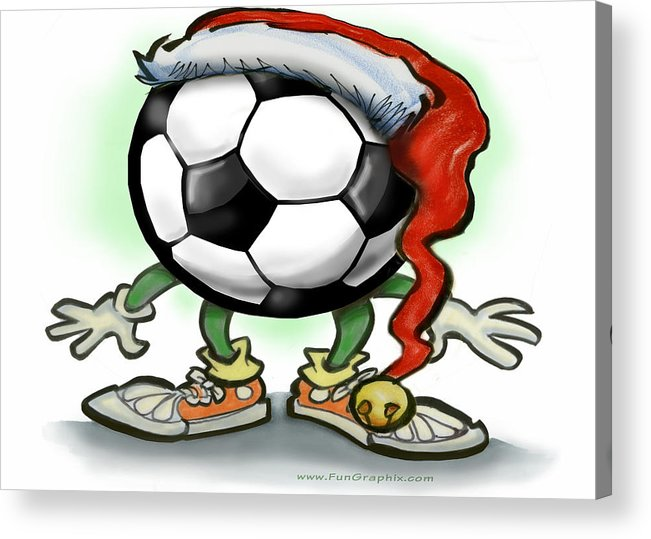 Soccer Acrylic Print featuring the greeting card Soccer Christmas by Kevin Middleton