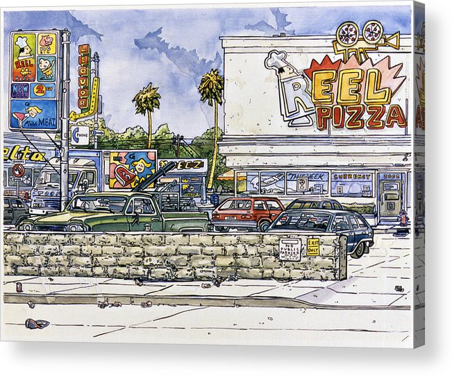 Karl Acrylic Print featuring the painting Sticker Landscape 2 Parking Lot by Karl Frey