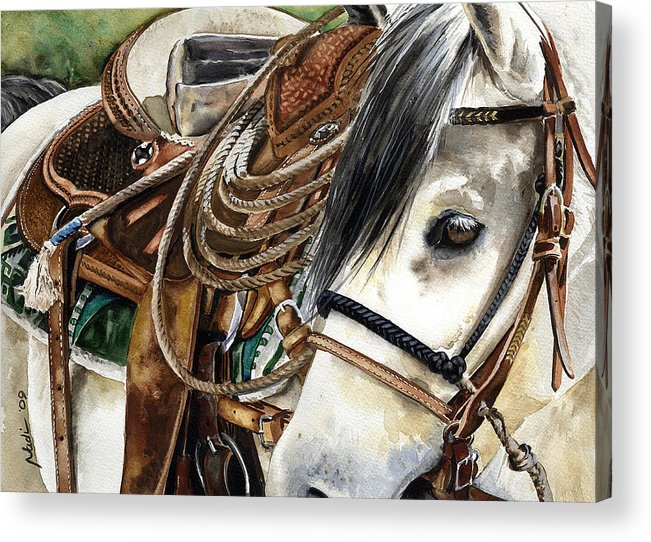 Cowboy Acrylic Print featuring the painting Stirrup Up by Nadi Spencer