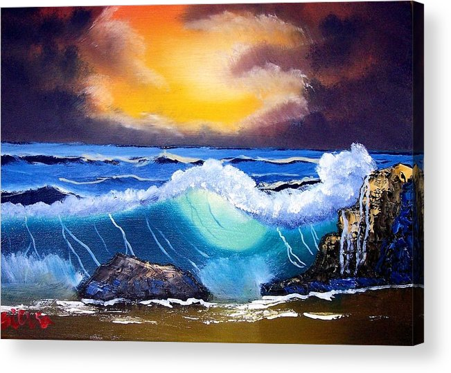 Landscape Acrylic Print featuring the painting Stormy Sunset Shoreline by Dina Sierra