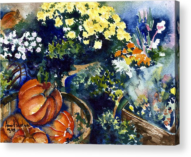 Floral Acrylic Print featuring the painting Street Garden by Anne Rhodes