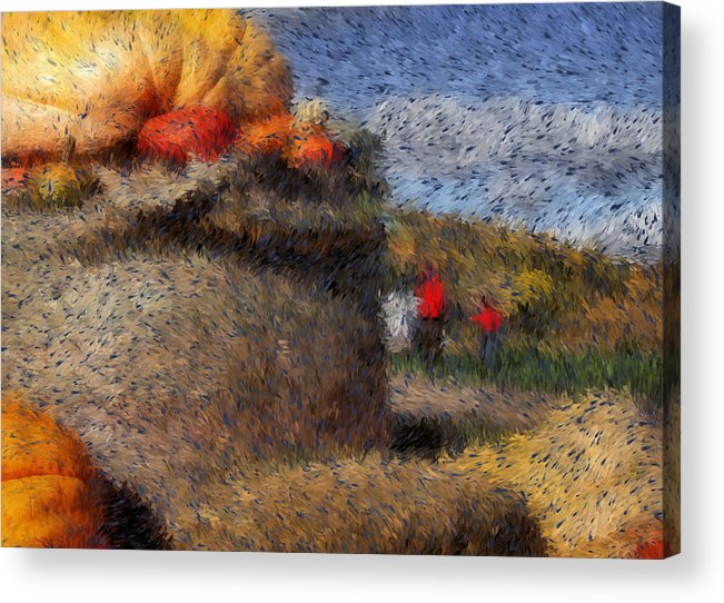 Digital Painting Acrylic Print featuring the digital art Strolling Through Autumn by Tingy Wende