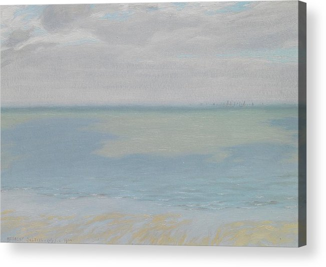 Study; Sky; Sea; Seascape; Horizon; Impressionistic; Water; Clouds; Sketch; Impressionism Acrylic Print featuring the painting Study Of Sky And Sea by Herbert Dalziel