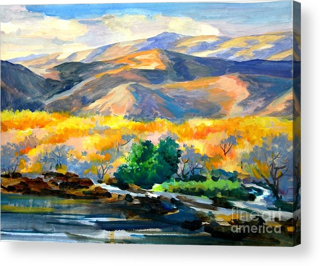 Landscape Acrylic Print featuring the painting Sunglow On The Hil by Charles Redwood