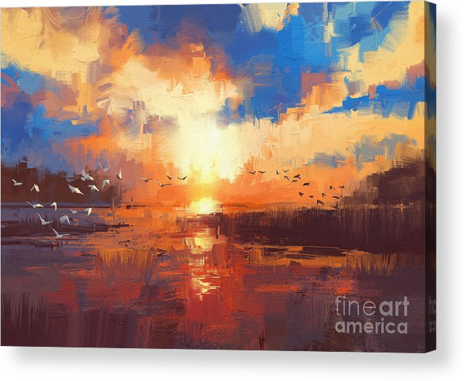 Art Acrylic Print featuring the painting Sunset by Tithi Luadthong