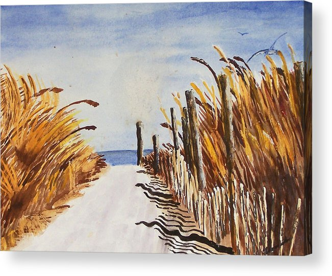 Beach Acrylic Print featuring the painting Tall Grass With Drift Fence by Robert Thomaston