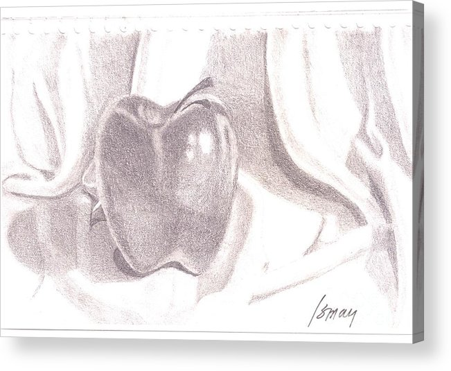 Apple Acrylic Print featuring the drawing Teacher's Pet by Rod Ismay
