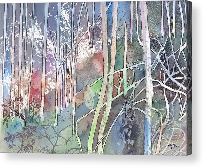Forest Acrylic Print featuring the mixed media Ten Faces In The Mystical Forest by Arline Wagner