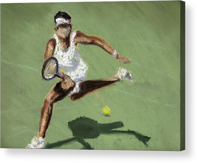 Pastels Acrylic Print featuring the pastel Tennis In The Sun by Paul Mitchell